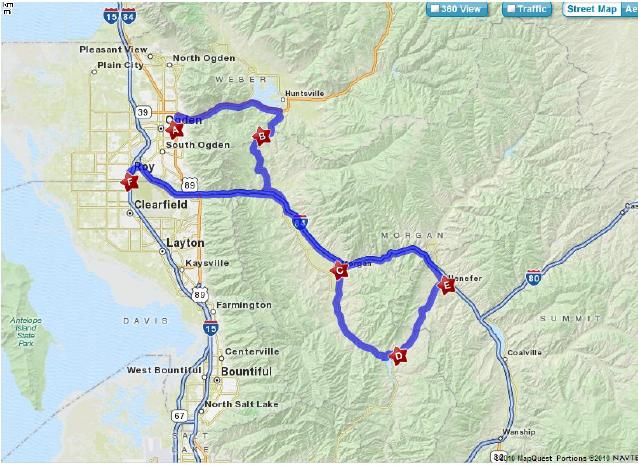 Ride Map- Ogden Canyon through trappers loop into Morgan down to Roy